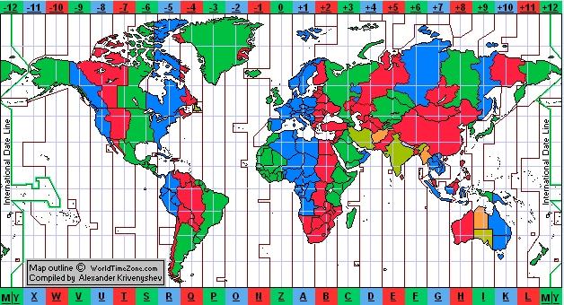 időzóna térkép zónaidő